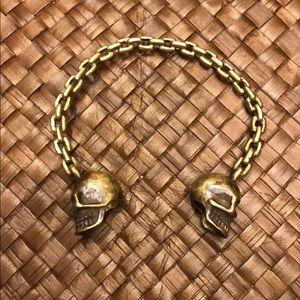 Jewelry - Bronze chain link double skull head bracelet